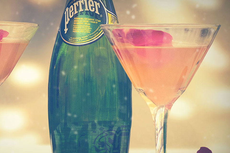 PERRIER Rose Petal Cosmo Recipe. Give flowers a little differently with this romantic PERRIER and vodka cocktail.