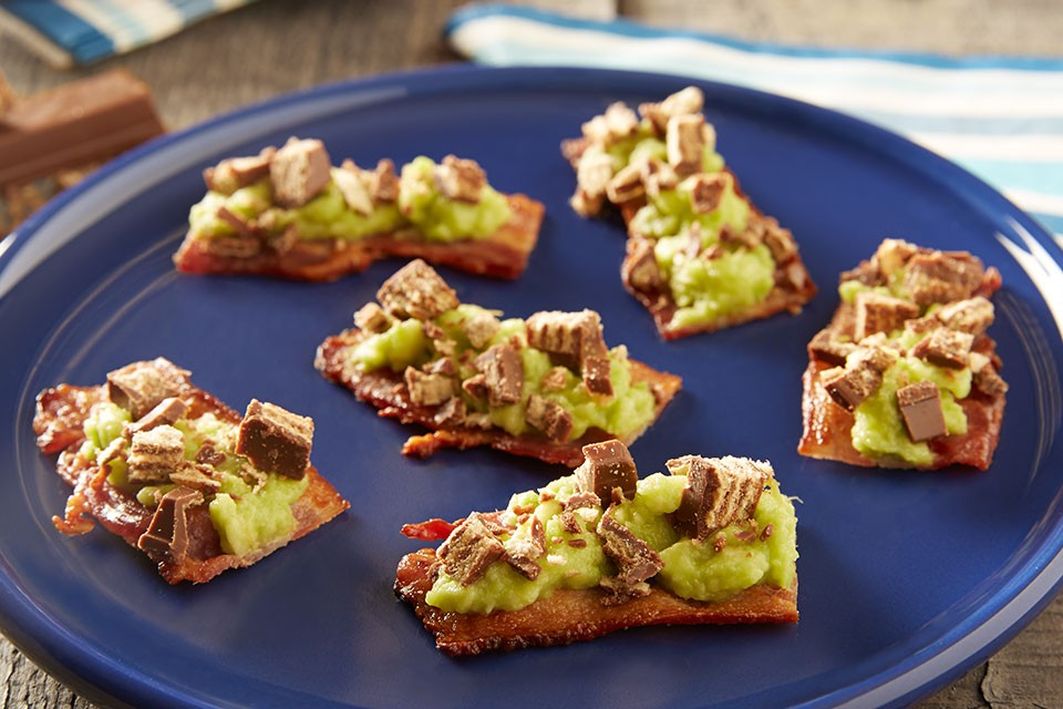 KIT KAT Seattle Strips recipe. A salty, sweet combination chocolate, bacon and avocado.