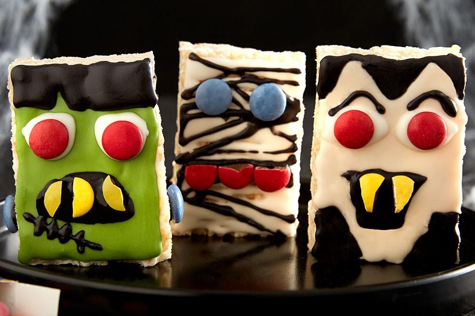 SMARTIES Crispy Creatures Recipe. Halloween monsters decorated rice krispy treats.