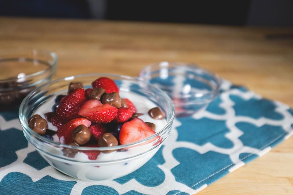KIT KAT Breakgurt recipe. Vanilla yogurt + fresh fruit + KIT KAT Bites = Breakgurt. That's right…Breakgurt.