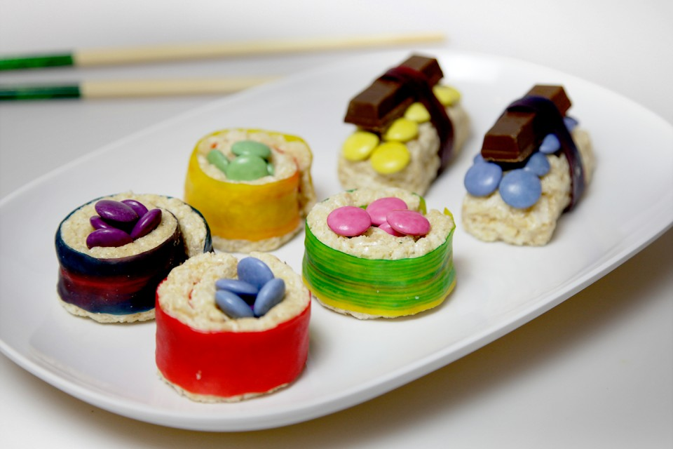 SMARTIES Sushi recipe. Delicious, tasty and colourful dessert! No fish are harmed in the making of THIS sushi!