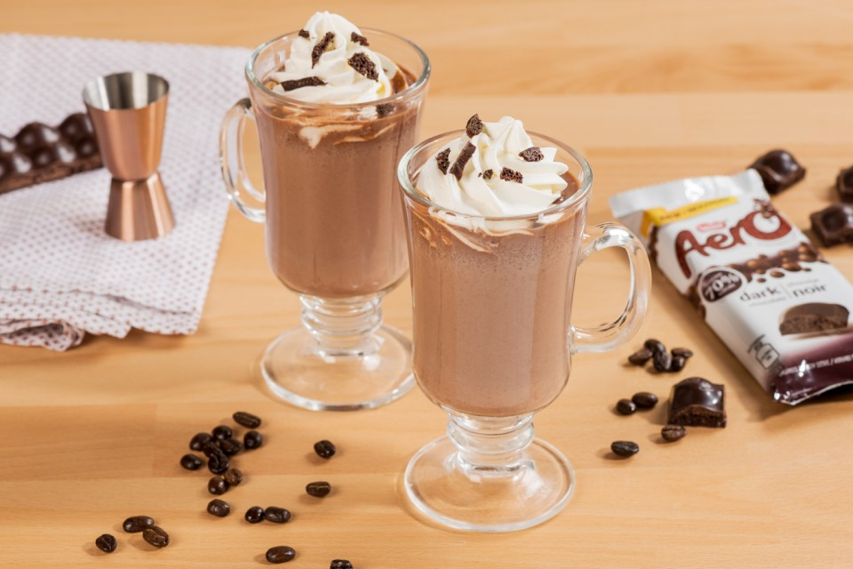 Spiked Aero Mocha drink recipe. Warm up to this indulgent coffee cocktail infused with rum.